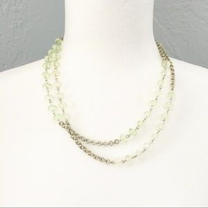 """Mint and silver tone necklace long 41"""""""